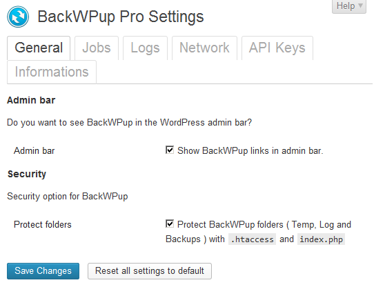 BackWPup settings