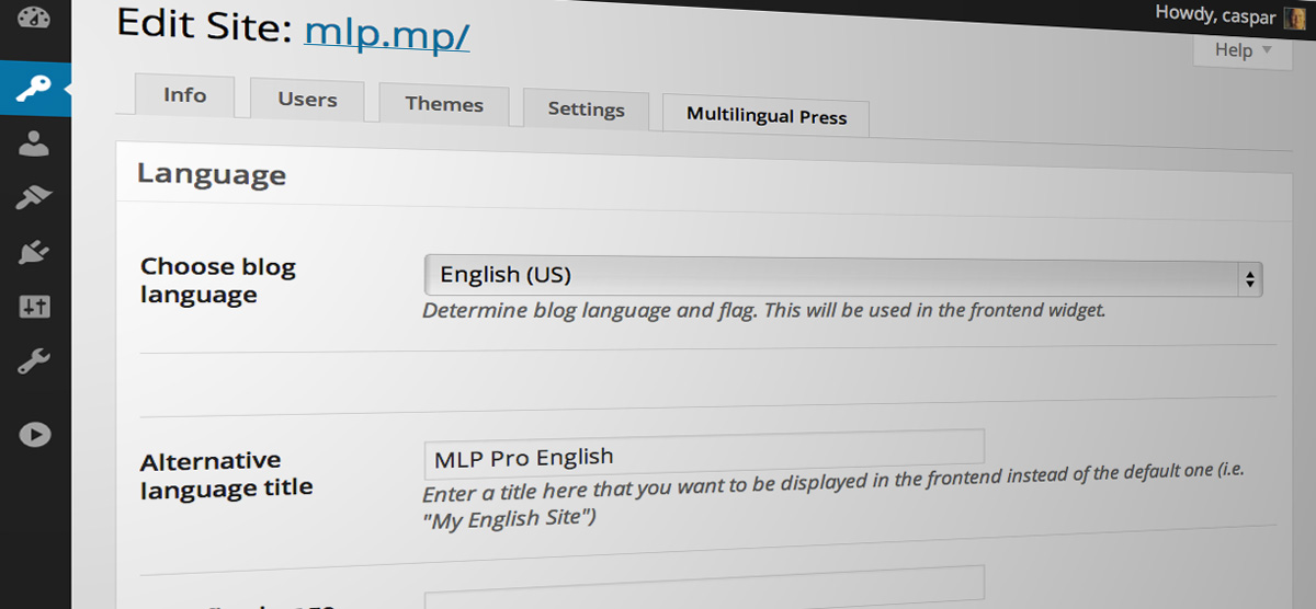 Multilingual Press: Choose site language