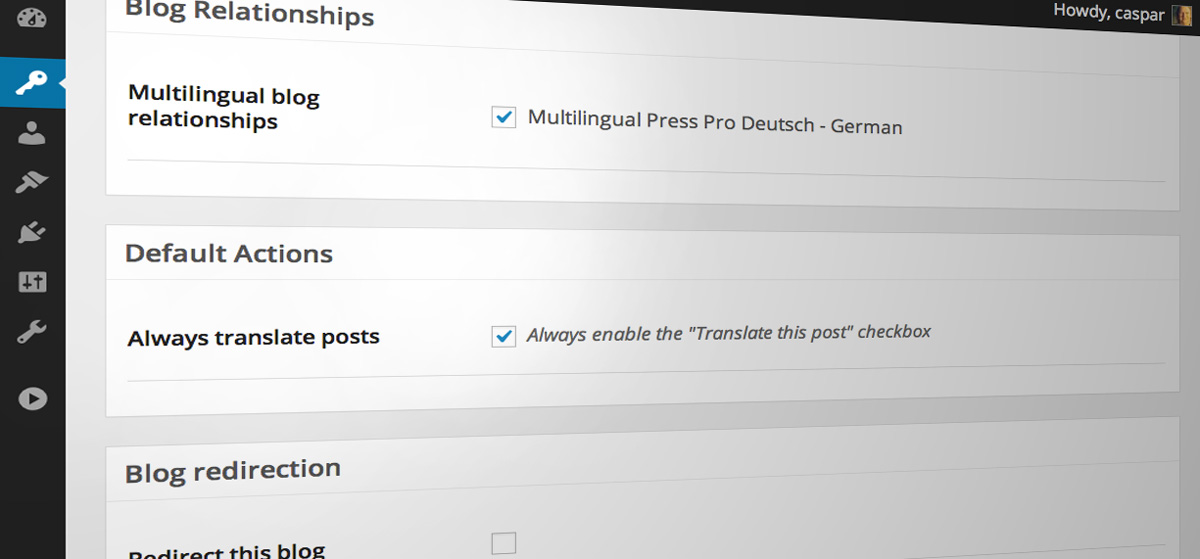 Multilingual Press: Verknüpfung von Sites/Sprachen