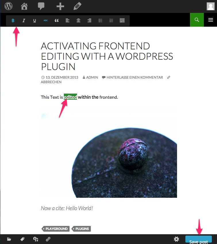 Frontend Editor WordPress