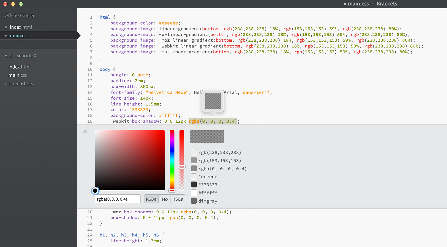 The Color Picker in Quick Edit Mode on a CSS file.